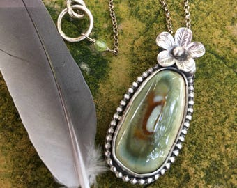 SALE - Imperial Jasper Pendant Necklace - sterling silver - oxidized and rustic