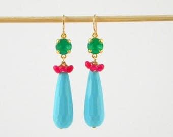 Turquoise Earrings, Ruby Earrings, Long Earrings, Statement Earrings, Boho Earrings, Festival Earrings, Turquoise Teardrop, Summer Earrings
