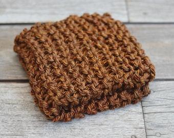 Rust - Mini Prop Blanket - brown knit newborn photography prop basket bucket bowl filler stuffer