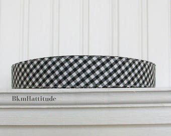 Black and White Gingham Headband - Fabric Headband - Womens Headband -Adult Headband - Womens Hair Accessories