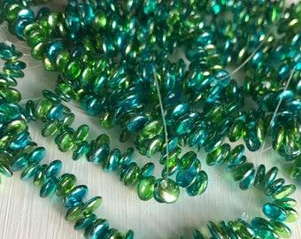 Lentil Beads - 6mm Metallic Lime/Aqua -  Czech Glass Beads