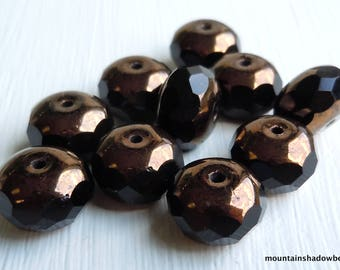 Faceted Rondelle Czech Glass Beads 11mm Gem Cut Glass Rondelle Beads Jet Bronze Picasso (GG2)