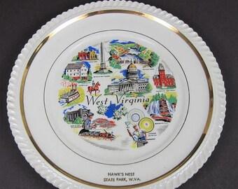 ON SALE Vintage Souvenir Plate West Virginia Hawk's Nest State Park WV Coal Capital Glassware State Collector Decorator