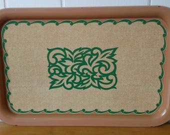 vintage tan and green tray