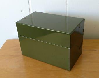 vintage army green recipe file box