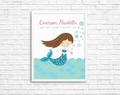 Mermaid Customized Children's Nursery Print