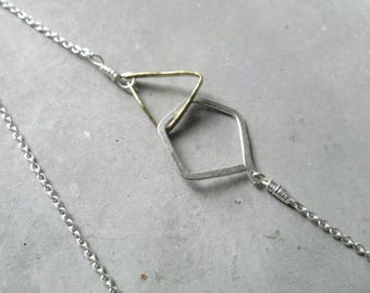 Elements, triangle + pentagon delicate necklace, minimalist silver necklace, lariat, geometric jewellery, contemporary mixed metal