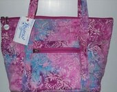Quilted Fabric Tote:  Mauve Pinks with Aqua Batik