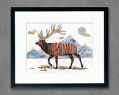 Elk in Alpine Tundra Art Print