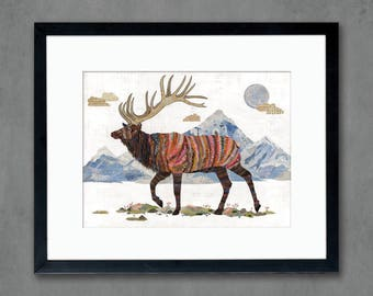 Elk in Alpine Tundra Art Print