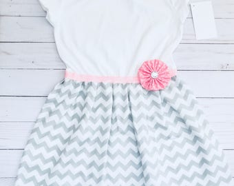Boutique one piece DRESS.. in grey chevron and pink accents-