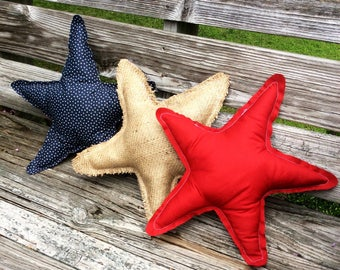 Rustic Star Pillows -Decorative Pillow -4th of July -July 4th -American Flag Pillow-Patriotic Pillow -Burlap Pillow -Red White Blue Pillow