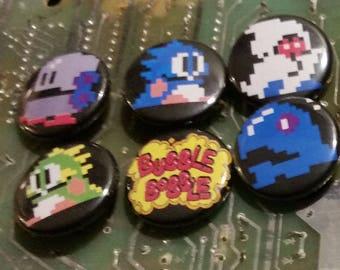 Set of 6 One-Inch Bubble Bobble Magnets Retro Pixel Arcade  8-Bit