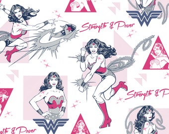 Wonder Woman Strength & Power in Pink Magenta Licensed DC Camelot Fabric By The Yard