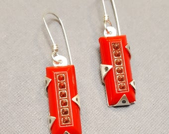 Sterling Silver and Red Vintage Art Deco Czech Glass Dangle Earrings