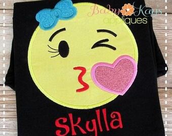 ON SALE Kiss Face Emoji Applique Design 4x4, 5x7, 6x10, 8x8
