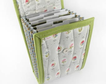 Circular Needle Case - Floral Portraits - Needle Holder Needle Wallet Circular Needle Organizer Organiser Gray Green Flowers