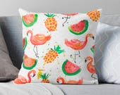 Flamingo Pillow Tropical Fruit Pillow gift for mum mother's day Sorority Southern Colorful memorial day watercolor pineapples decor