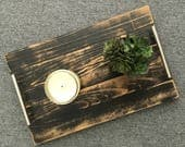 DISTRESSED black wood serving tray / modern rustic wood tray