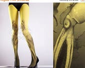 ON SALE/// Yellow Octopuses Closed Toe one size full length printed tights pantyhose tattoo socks tattoo tights