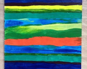 Stripes - Original Painting by Amanda Laurel Atkins - Free Shipping