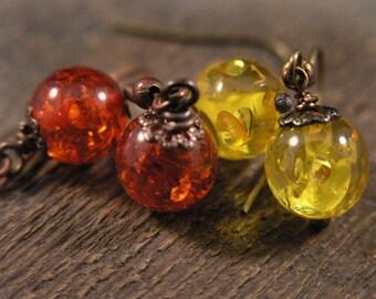 SALE Amber fossil resin yellow or dark orange, antique brass or copper handmade earrings
