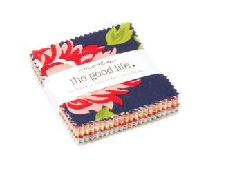 1 pack - The Good Life Mini Charm Pack by Bonnie and Camille for Moda Fabrics,  42 2.5 inch squares