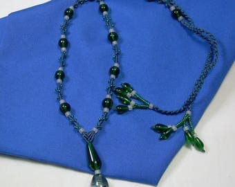 Beaded Micro Macrame NECKLACE - No Metal Parts - Blue Green