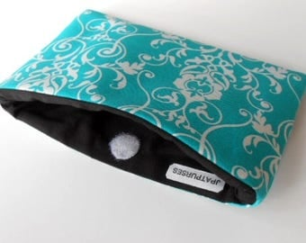 Catch All Clutch ECO Friendly Padded Pouch Aqua Mist Vines NEW