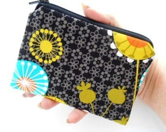 Zipper Pouch Little Padded Coin Purse ECO Friendly NEW Posey on Black