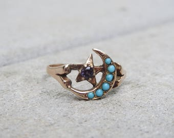 Victorian 10K Rose Gold Turquoise and Amethyst Moon and Star Ring Size 7