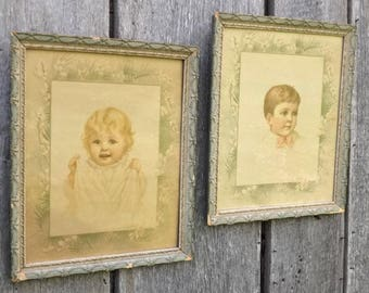 2 Victorian Children Portrait Color Litho Prints, Antique Blue Gray Gesso Wood Frames, Baby Girl & Toddler Boy Siblings, Vintage Wall Art