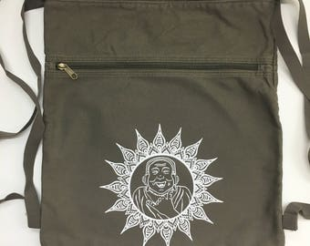 Happy Buddha Back Pack-Cinch Sack-Screen Printed Cotton Canvas, Buddha, Back to School Supplies, Viva Sweet Love