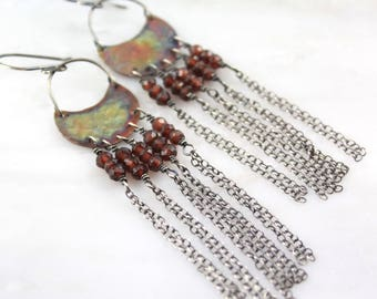 Fire Painted Copper and Garnet Statement Earrings