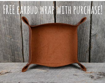 Chestnut Leather Snap Valet Tray Catchall