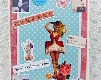 """She Who Is Brave Is Free Card comes w 1"""" Pin Back Button-Friendship Card-You Can Do It Card-Make Your Dreams Come True"""