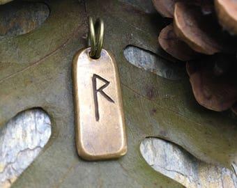 Raido Rune, Bronze Rune Pendant, Viking Jewelry, Viking Runes, Men's Rune Jewelry, Rune Jewelry, Nordic Jewelry, Elder Futhark, Nordic Raido