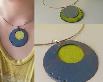 Lola, sterling, enamel double-sided necklace