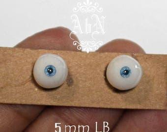 Hand Made Glass Like Eyes 5mm - Light Blue - for OOAK Art Dolls LB-5mm