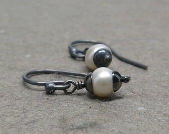 White Pearl Earrings Petite Simple Minimalist Oxidized Sterling Silver June Birthstone Earrings