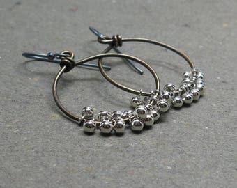 Brass Hoop Earrings Silver Dangles Mixed Metals Oxidized Sterling Silver Metalwork