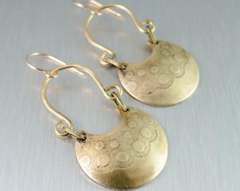 Textured Brass Earrings - Brass Horseshoe Earrings -  Bubble Pattern
