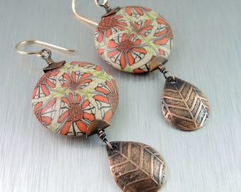 Copper and Polymer Clay Earrings - Etched Copper Earrings - Statement Earrings