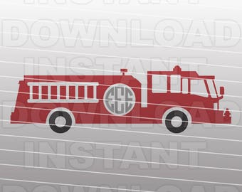 Fire Truck Department Monogram SVG File Cutting Template-Vector Clip art Commercial & Personal Use-Download-Cricut,Cameo,Explore,SCAL,Decal