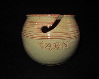 YARN bowl in cream and burnt orange, stoneware pottery, knitting, crochet