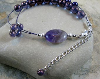 Adjustable Row Counter Knitting Abacus Bracelet -  Amethyst Gemstone - Item No. 1093