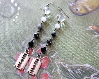 Razor Blades & Gradient Gemstone Earrings - Feeling Stabby Collection