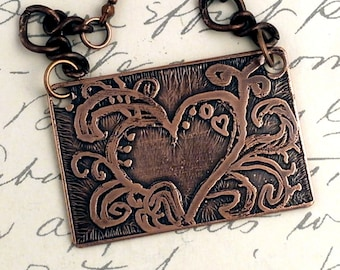 Hearts And Swirls Handmade Etched Copper Pendant Necklace