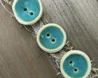 Ceramic Button Set - Blue Clay Buttons - One Of A Kind Button Trio - Artisan Ceramic Buttons - Tide Pool