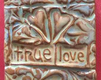 True love with two hearts handmade earthenware tile by tilesmile